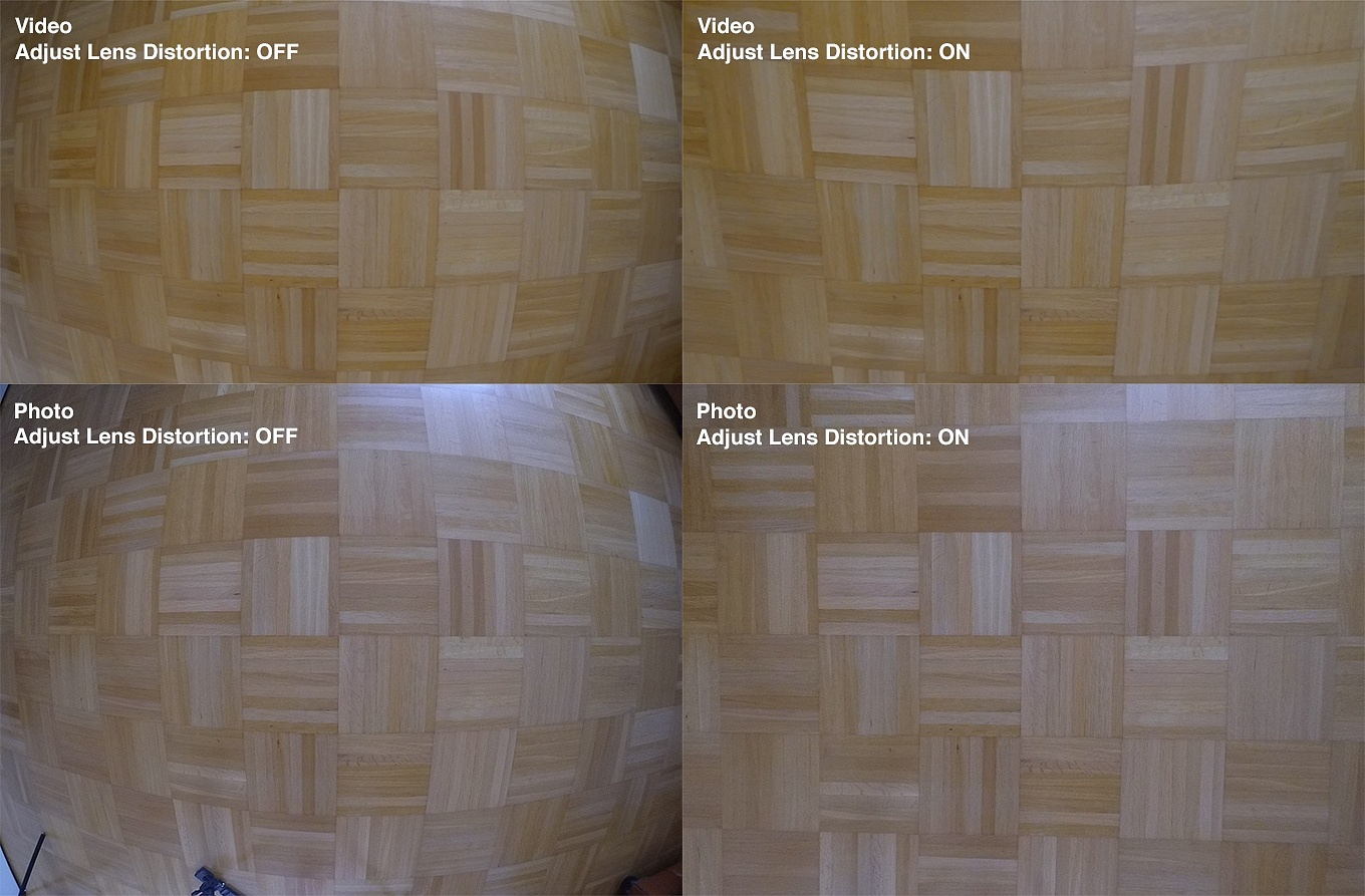 Adjust lens distortion - ON & OFF in video and photo mode