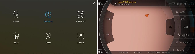 DJI Spark vs Mi 4K Drone - App