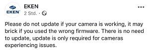 EKEN Firmware Update Info