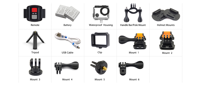 EKEN H5s - included Accessories
