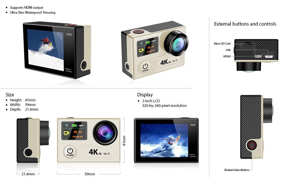 EKEN H8 dimensions & ports