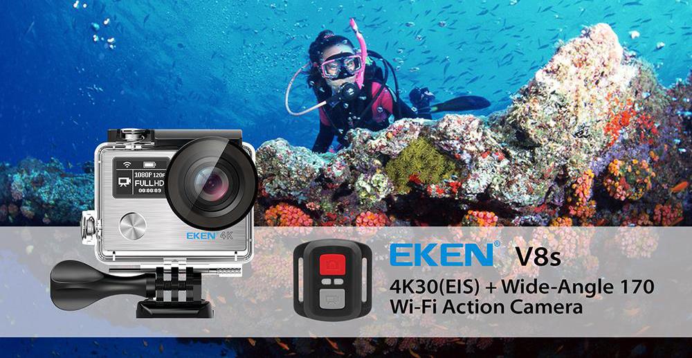 EKEN V8s - 4K 30fps with EIS (electronic image stabilization)