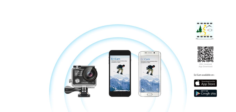 EKEN V8s uses Ez iCam App (iOS & Android)