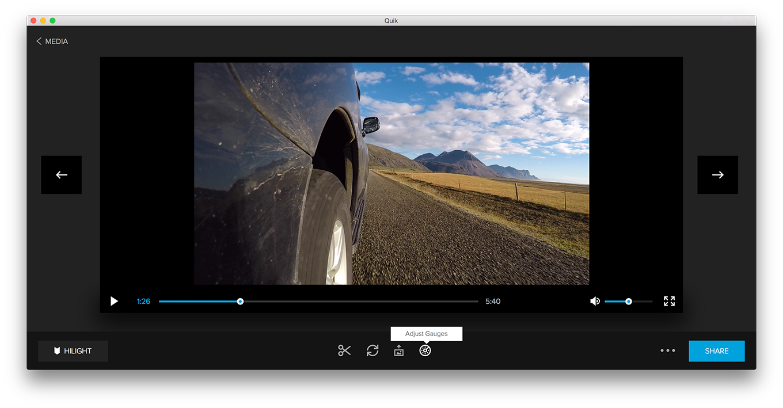 GoPro GPS data - Quick App - Adjust Gauges