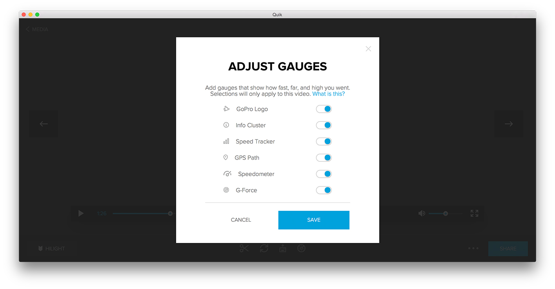 GoPro Quick App - Adjust Gauges