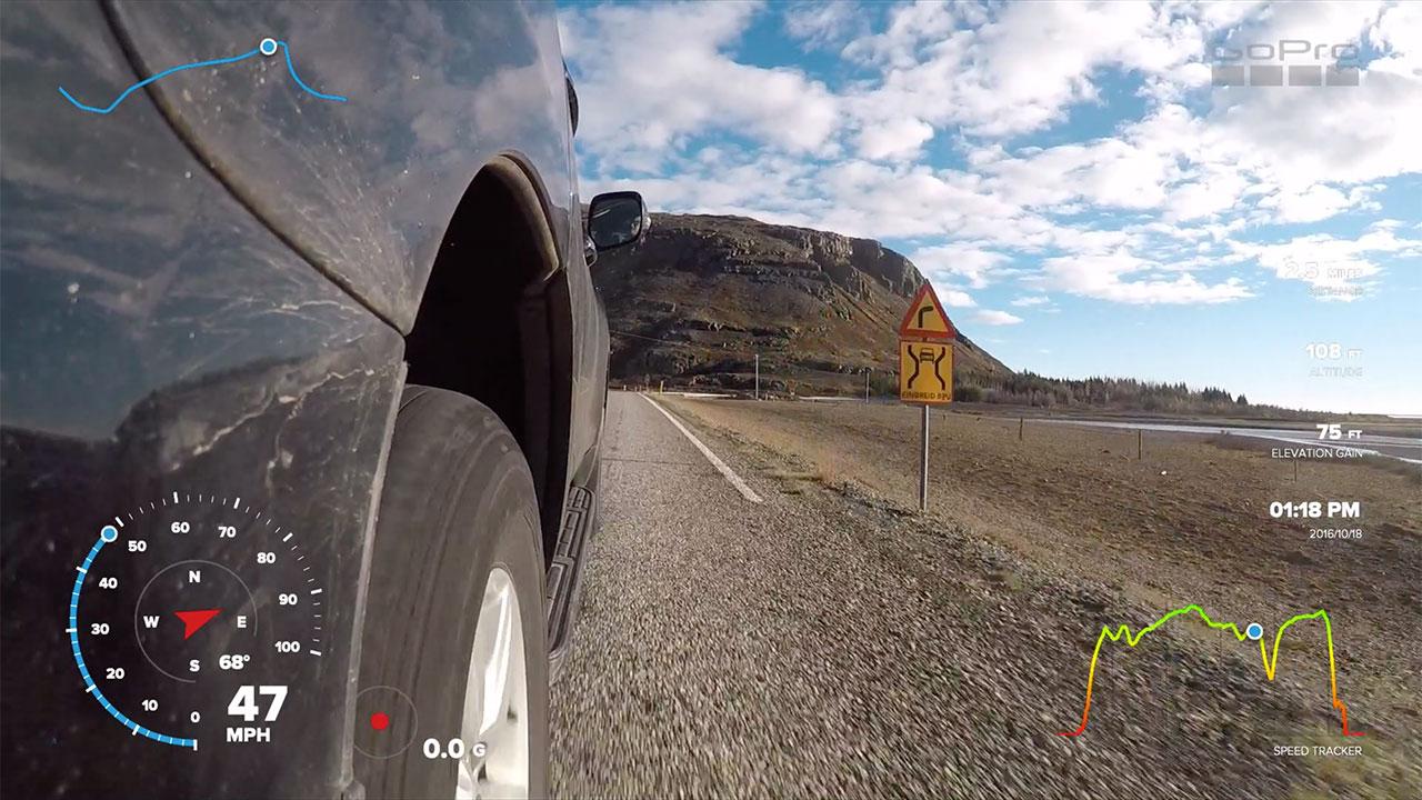 GoPro displaying GPS data in video
