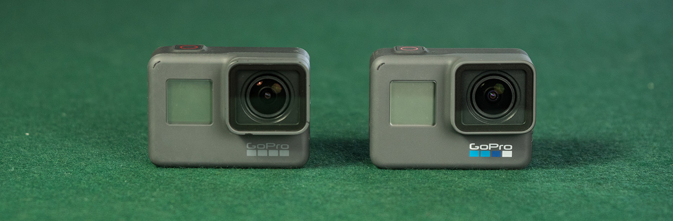 GoPro Hero5 black vs GoPro Hero6 black (notice the coloured logo)
