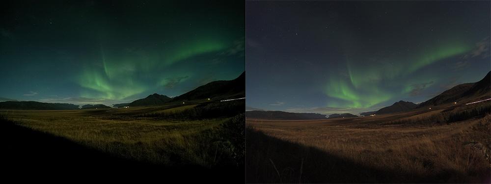 GoPro Hero5 black vs YI 4K Action Camera - long exposure