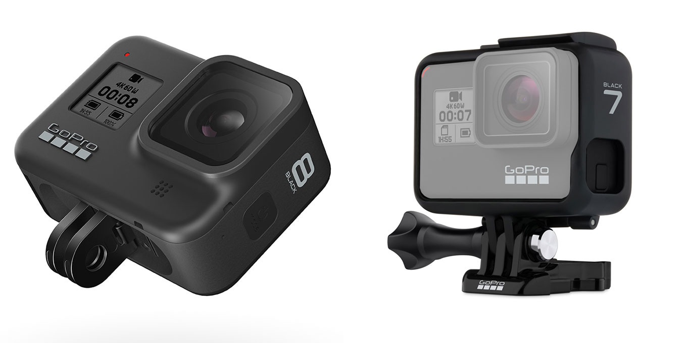 GoPro Hero8 black (foldable mount, fixed lens) vs GoPro Hero7 black (frame mount, replaceable lens)