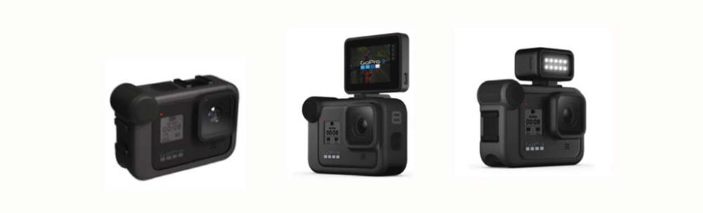GoPro Hero8 black leak - a new housing for accessories (external microphone, LCD screen, LED lights)