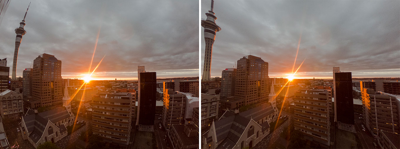 Left: GoPro photo taken in RAW - Right: Distortion Correction in Lightroom