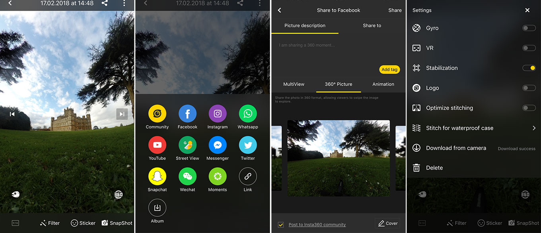 Insta360 One App - Photo editing