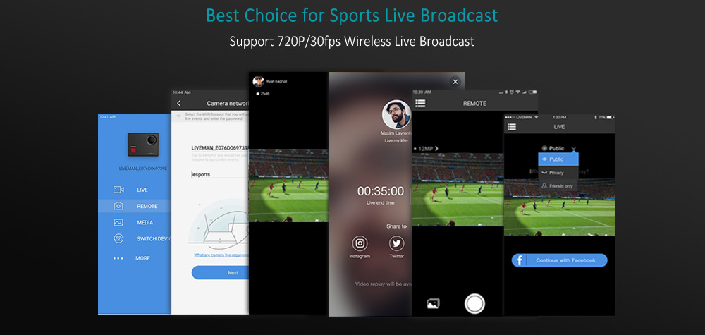 Lesports Liveman C1 - Live-Broadcasting, view of App