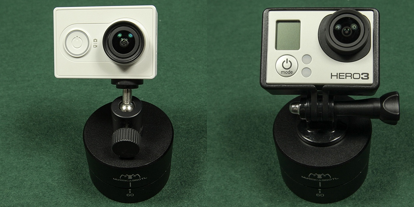 "Adjust Angle: Xiaomi Yi mounted with 1/4"" screw and ball head // GoPro using a tripod mount"