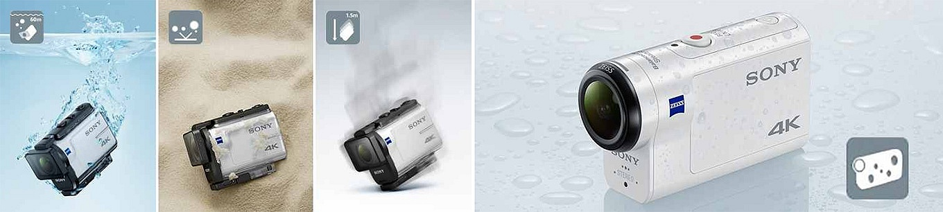 Sony FDR-X3000R - the camera itself is splash proof, underwater case is included