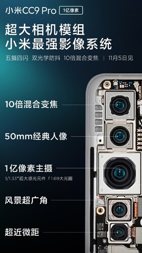 Xiaomi Note 10 - penta camera phone - 5 cameras - 108MP sensor
