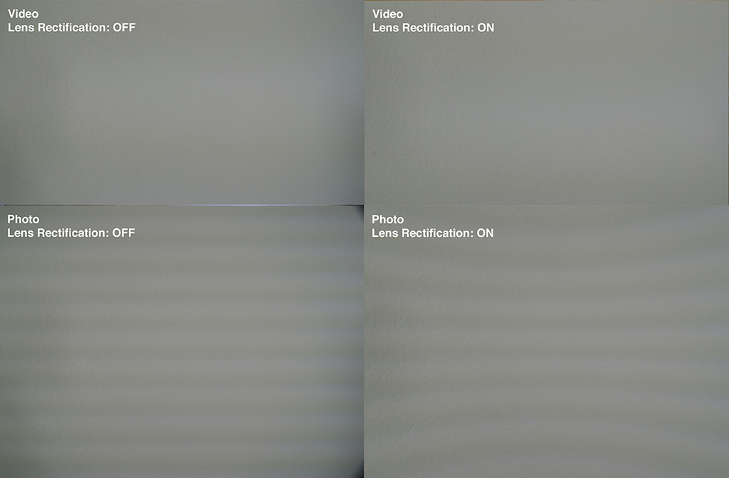 Vignetting in Photo and Video Mode - Lens Rectification turned off and on