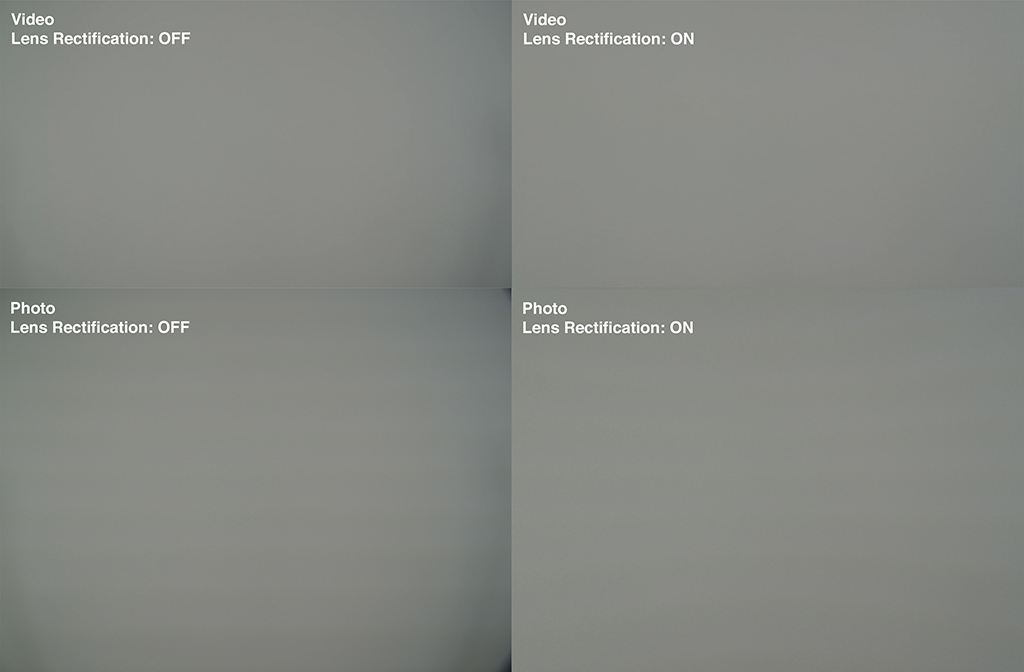 Vignetting test in Photo and Video mode - Lens Rectification turned off and on