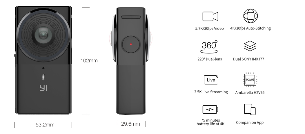 YI 360 VR Camera - Dimensions