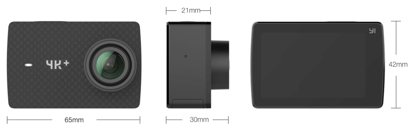 YI 4K+ Action Camera - Dimensions