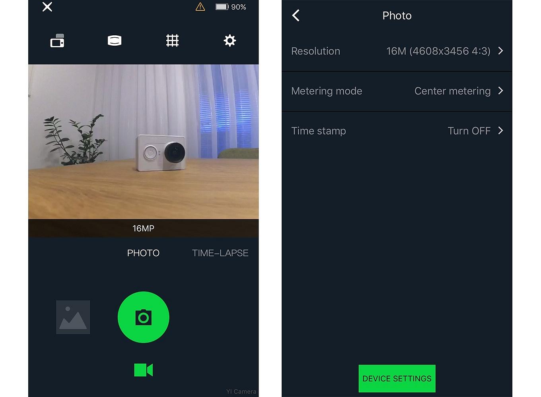 Yi Action App (iOS) - Photo Mode