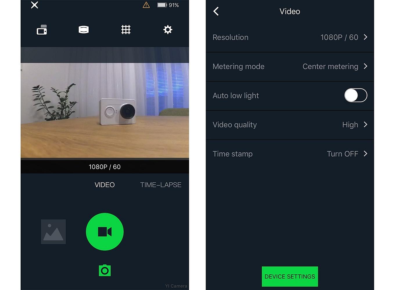 Yi Action App (iOS) - Video Mode