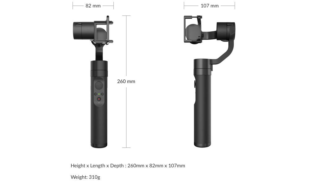 YI Action Gimbal - Dimensions