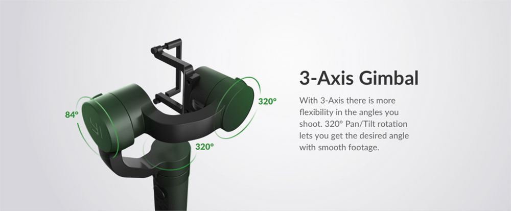YI Action Gimbal - 3-axis gimbal - 320° / 320° / 84° rotation