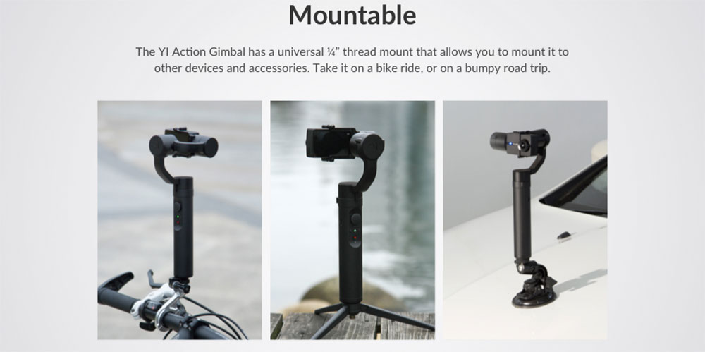 YI Action Gimbal mounting options
