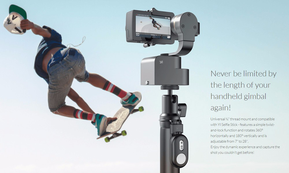 YI wearable Gimbal - mounted on monopod
