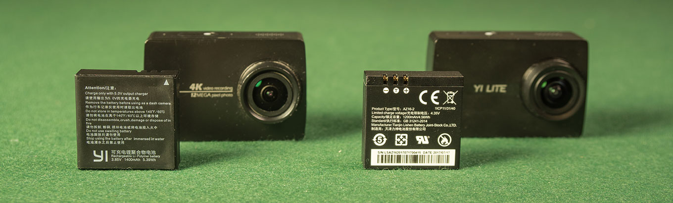 YI Lite Action Camera vs YI 4K Action Camera - Battery
