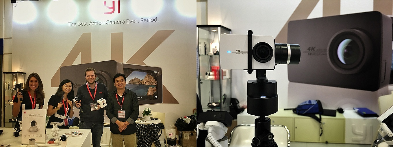 visiting YI booth to check out YI Handheld Gimbal