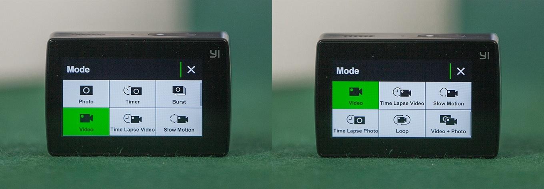 Yi Action Camera 2 - 9 operating modes