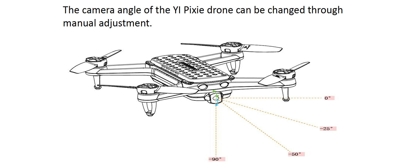 Adjustable Camera of YI Pixie, but no gimbal