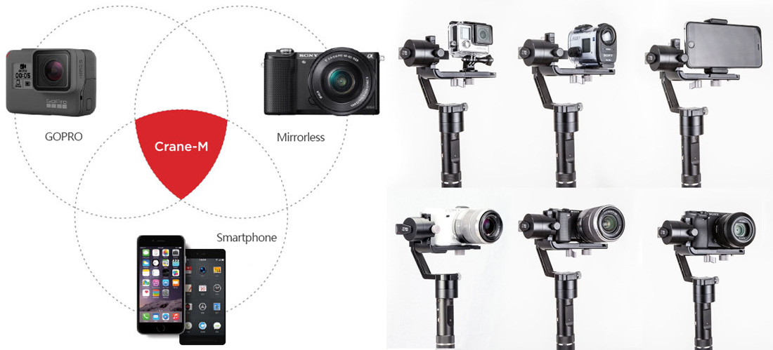 Zhiyun Crane-M - for Smartphones, Action Cams and Mirrorless Cameras