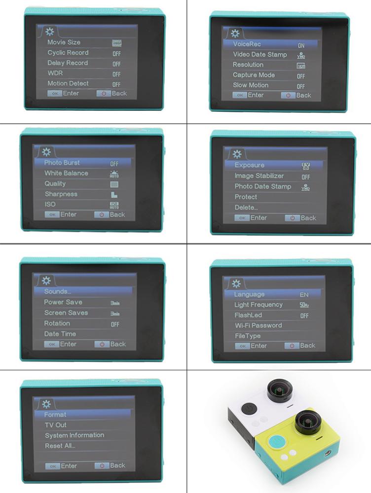 Fake Xiaomi Yi action camera - menu