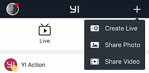 "YI 4K Live Stream - Click ""Create Live"" in YI Phone App"
