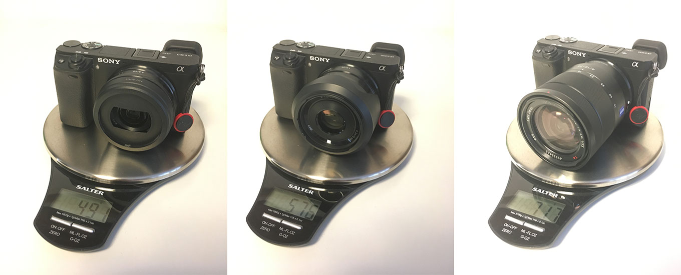 Weight Comparison: Sony a6300 with 20mm, 35mm & 16-70mm lens
