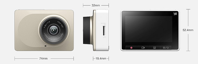 Xiaomi Yi Dashcam Dimensions